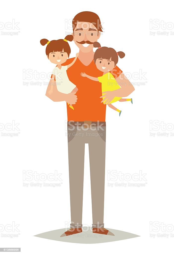 Single father with two young daughters. Happy family vector art illustration