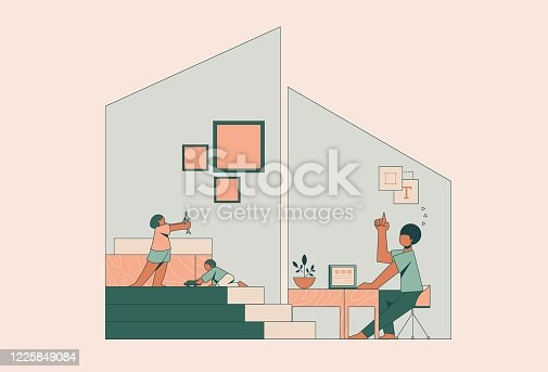 istock Single father working from home during COVID-19 pandemic 1225849084