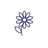 Single flower line icon. Gerber, petals, decoration. Spring concept. Vector illustration can be used for topics like garden, flora, nature