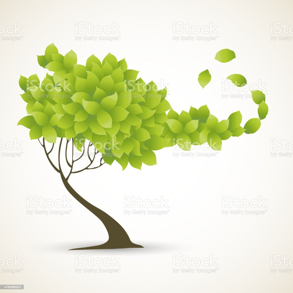 Single green tree on white background. royalty-free stock vector art