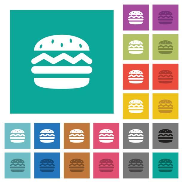 einzigen hamburger quadratische flache multi farbige symbole - winkelküche stock-grafiken, -clipart, -cartoons und -symbole
