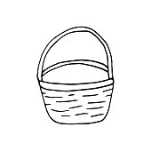 Single hand drawn basket for mushrooms and vegetables for autumn decoration or easter design. Doodle vector illustration. Isolated on white background