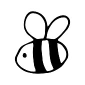 Single hand drawn bee for summer and spring decoration or design. Doodle vector illustration. Isolated on white background