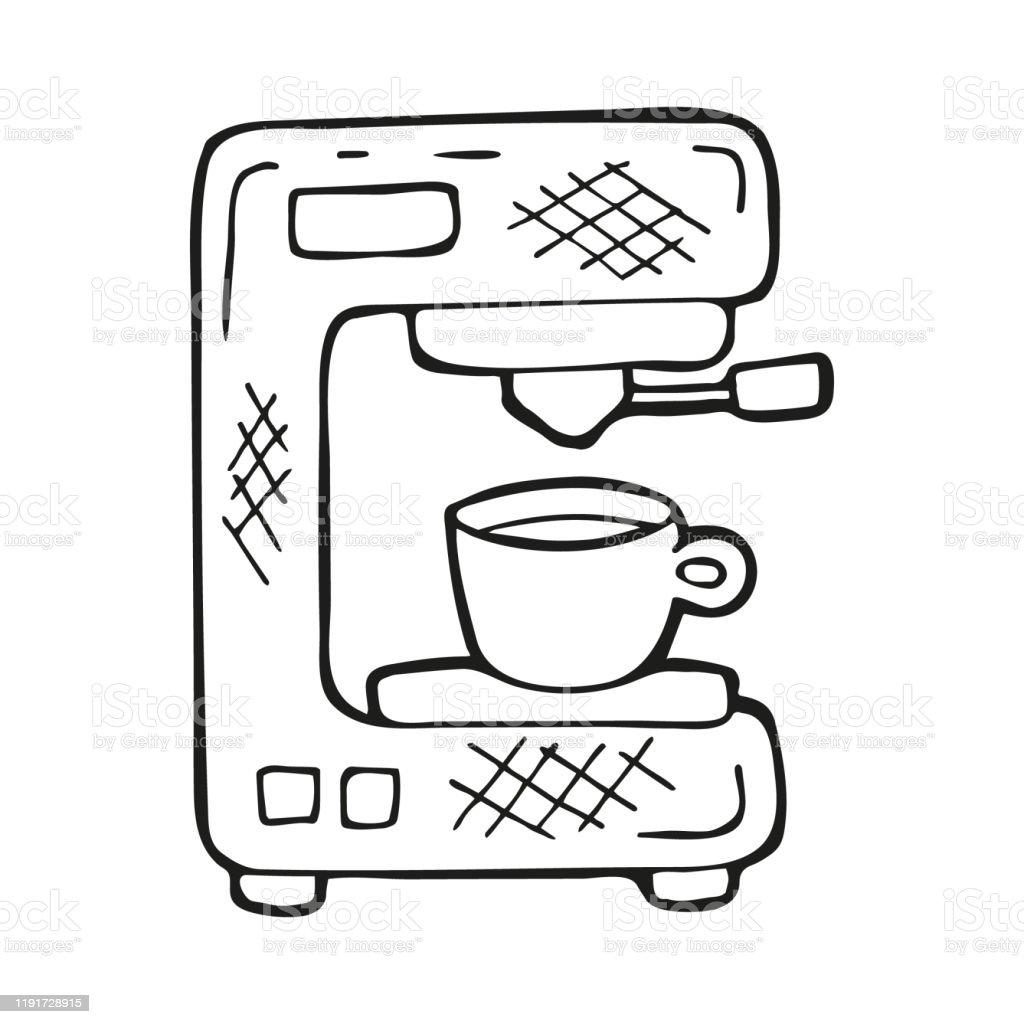 Tek Elle Çekilmiş Kahve Makinesi Veya Kahve Makinesi Doodle Stilinde Beyaz  Arka Planda Yalıtılmış Siyah Anahat Kart Sosyal Medya Afiş Çıkartmalar Için  Sevimli Unsur Vektör Çizimi Stok Vektör Sanatı & Cappuccino'nin Daha