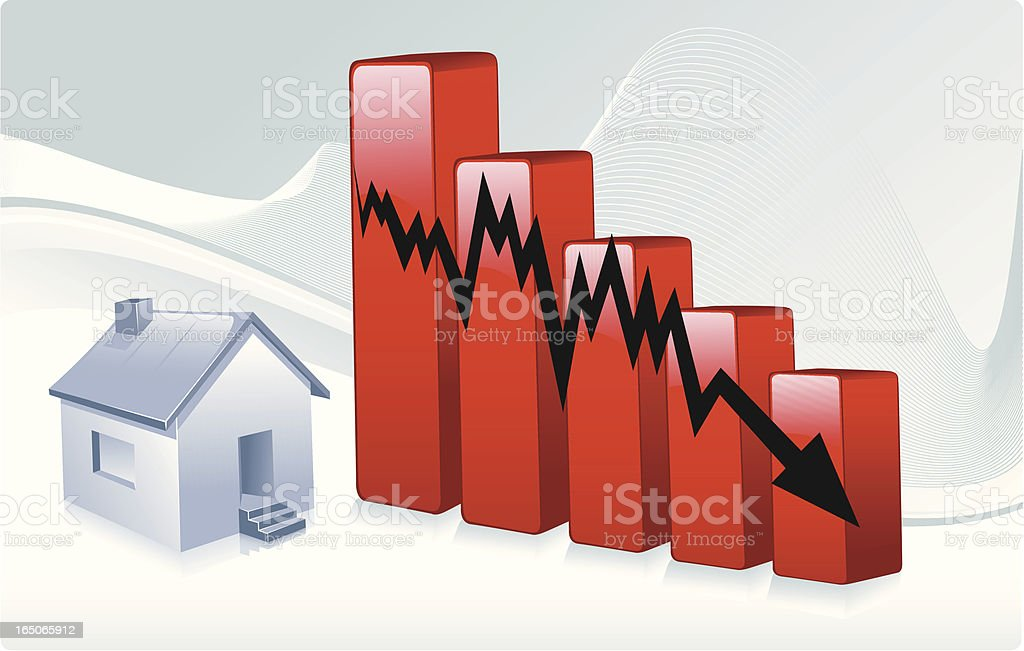 single home graph decline royalty-free stock vector art