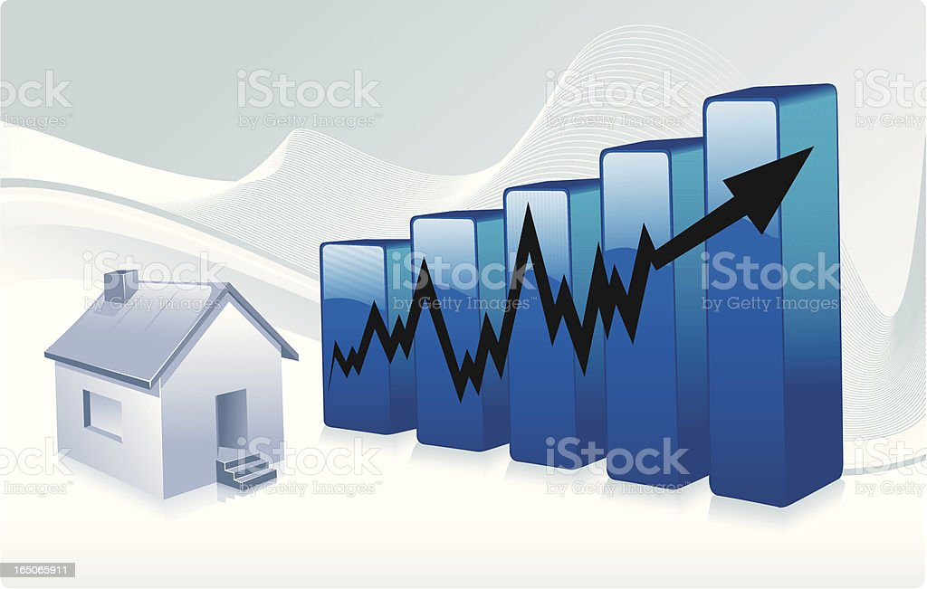 single home graph incline royalty-free stock vector art