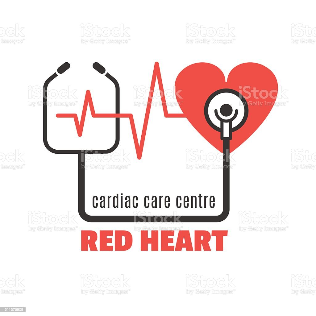 Single icon with red heart and stethoscope for cardiac clinic vector art illustration