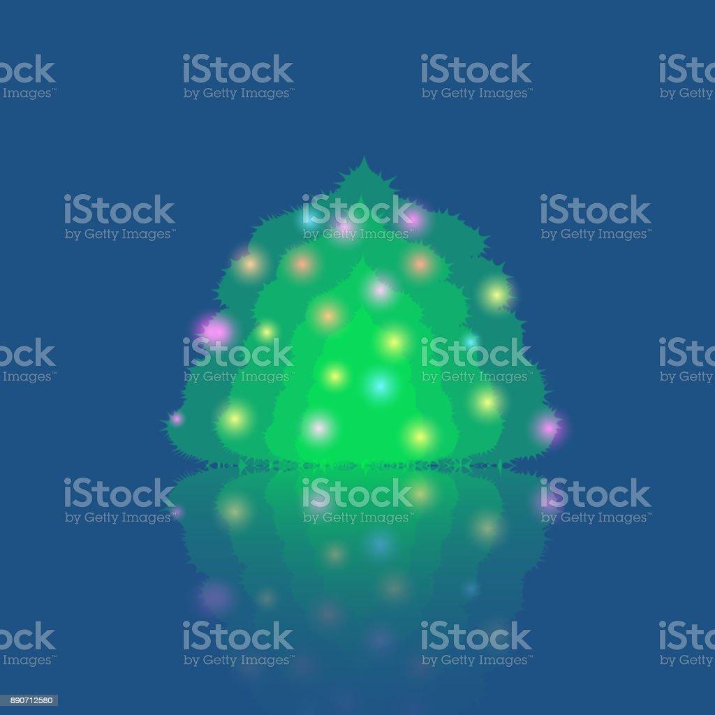 Single Illuminated Christmas Tree vector art illustration