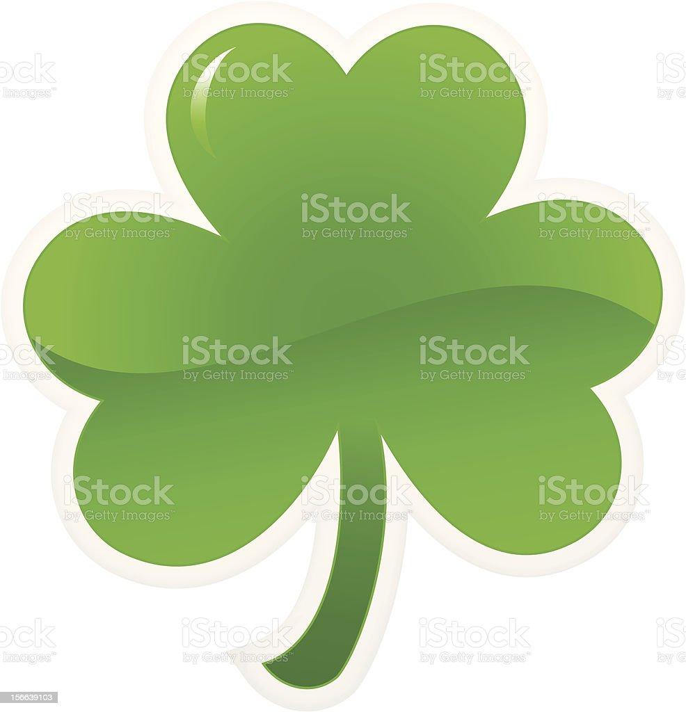 Single illustration of a green shamrock icon royalty-free stock vector art