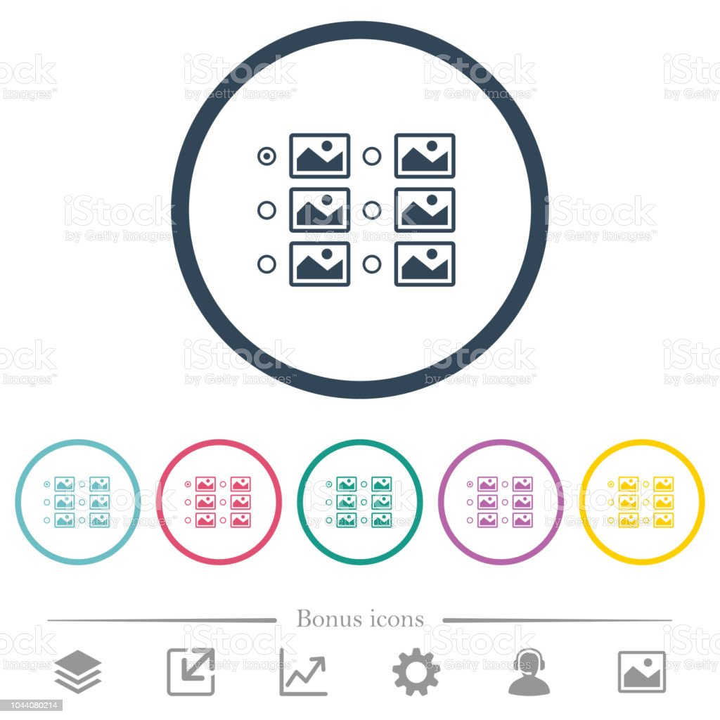 Single Image Selection With Radio Buttons Flat Color Icons In Round Outlines Royalty Free