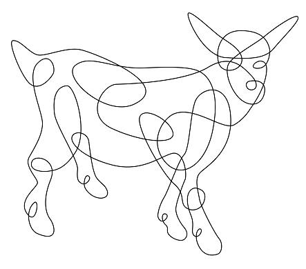 Single Line Animal Drawing Goat
