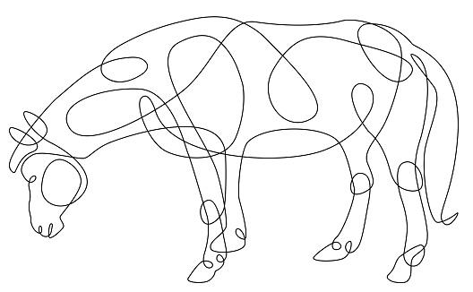 Single Line Animal Drawing Horse