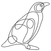 Single Line Animal Drawing Penguin