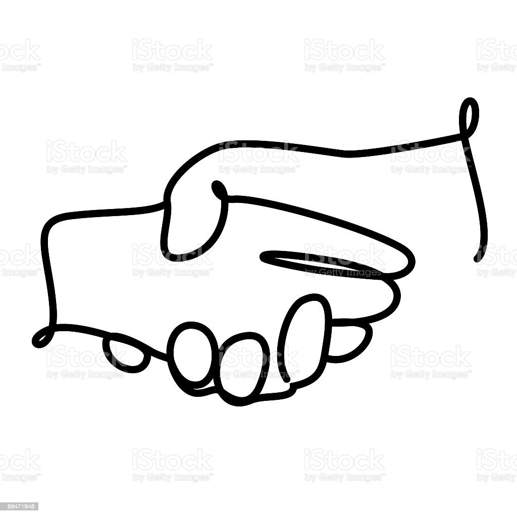 Single line drawing of two clasped hands royalty-free stock vector art