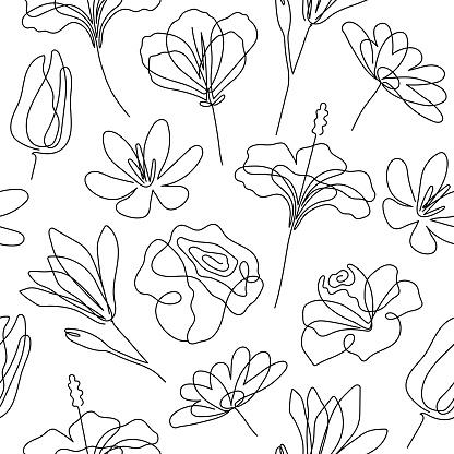 Single line flowers seamless pattern