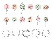 Collection of flowers and wreaths made with continuous line drawing.\nEditable vectors on layers.