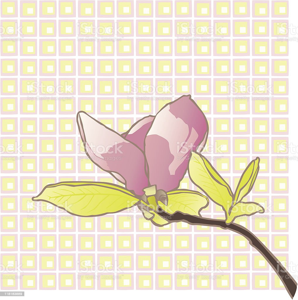 Single Magnolia on Background royalty-free stock vector art