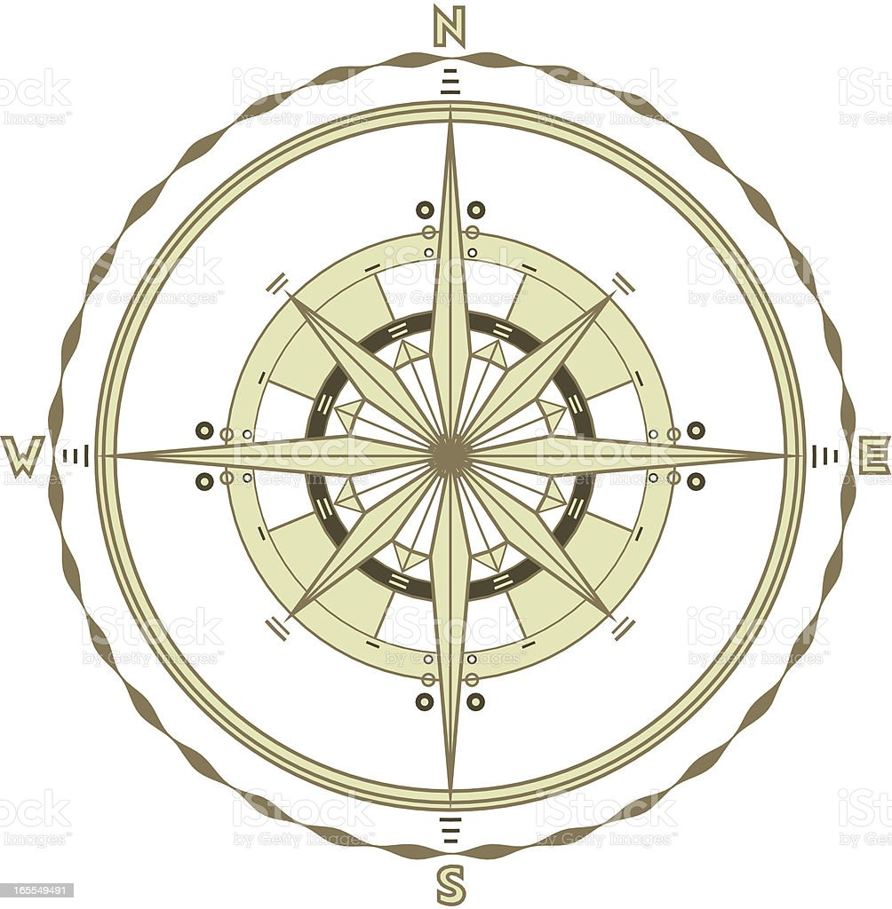 Single Marine Compass vector art illustration