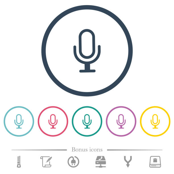 Einzelmikrofon flache Farbsymbole in runden Umrissen – Vektorgrafik