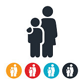 An icon of a single mother with her child. The icons shows the mother with her arm around the child representing single parenthood.