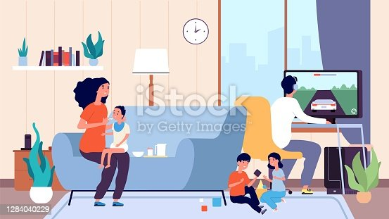 istock Single mother. Mom feeds baby, large family. Nanny or babysitter and little children in room vector illustration 1284040229