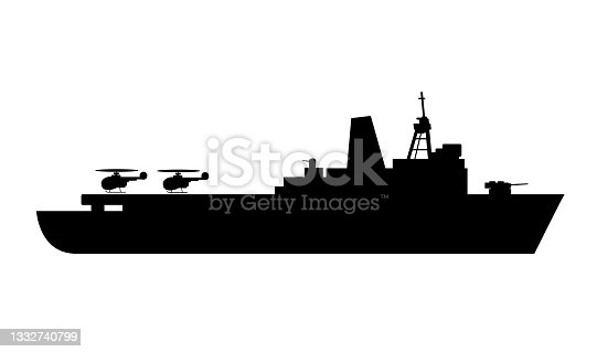 istock Single of silhouettes of warships for design and 1332740799