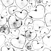 Faded traces of imprinted black hearts arranged carelessly on white watercolor paper background - creative illustration in vector.  SEAMLESS PATTERN - duplicate it vertically and horizontally to get unlimited area.   VECTOR FILE - enlarge without lost the quality!  Great design for Valentines Day!