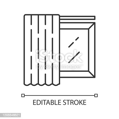 Single panel linear icon. Curtain, room darkening shade on cornice. Shop interior design. Window covering. Thin line illustration. Contour symbol. Vector isolated outline drawing. Editable stroke