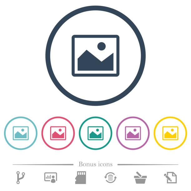 ilustrações, clipart, desenhos animados e ícones de ícones de cor plana única fotografia em contornos redondos - imagem