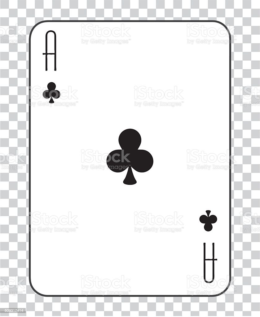 Single playing cards vector: Ace Clubs vector art illustration