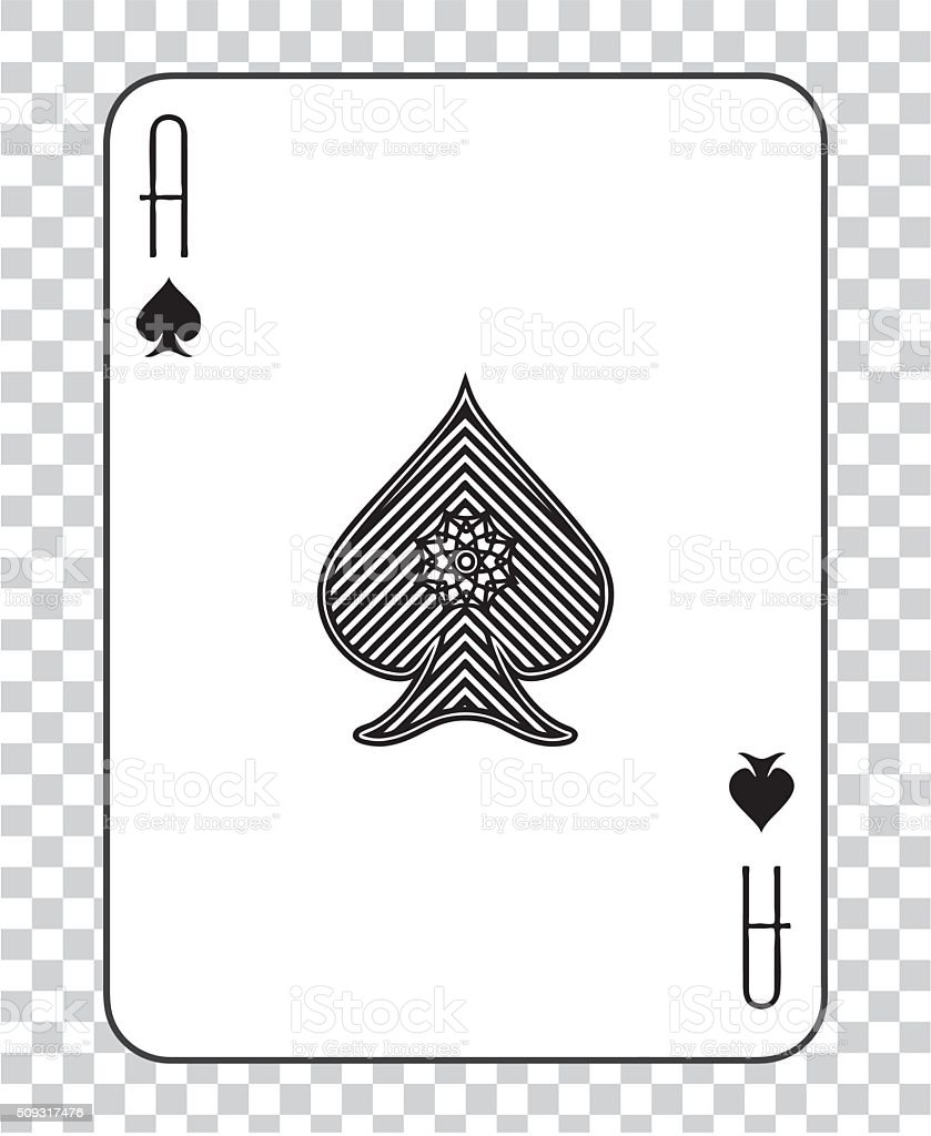 Single playing cards vector: Ace Spades vector art illustration