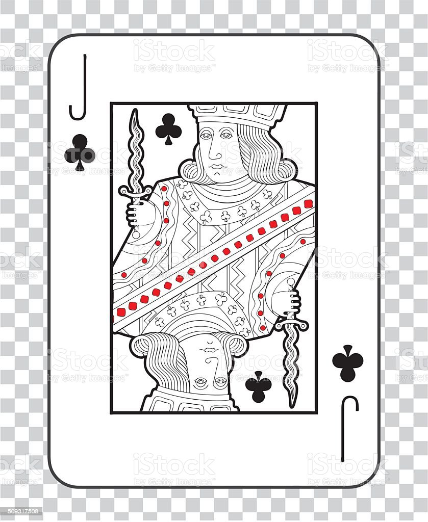 Single playing cards vector: Jack Clubs vector art illustration