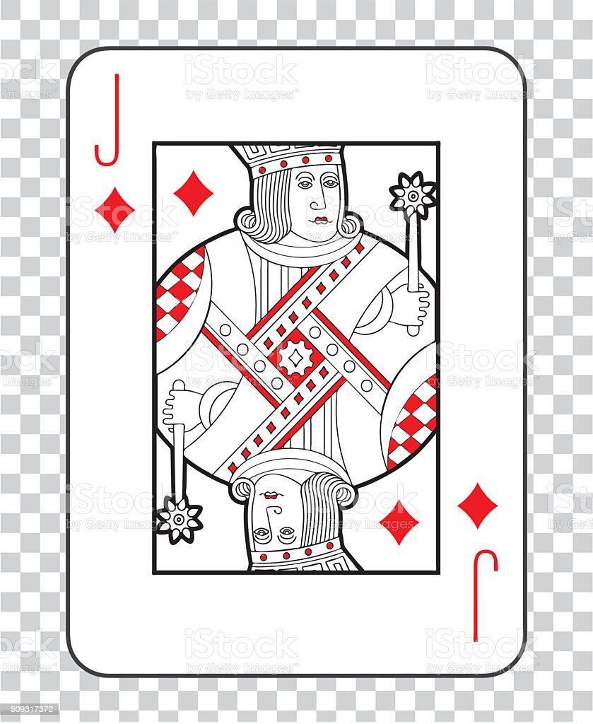 Single playing cards vector:  Jack Diamonds vector art illustration