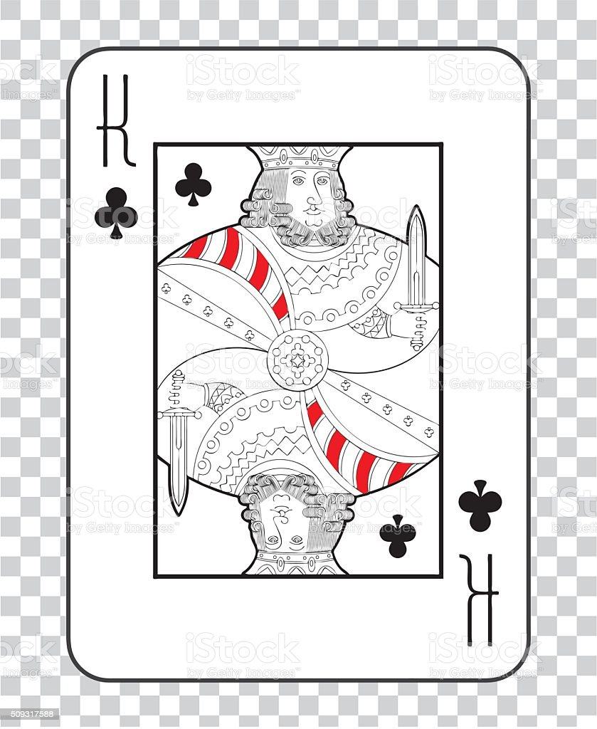 Single playing cards vector: King Clubs vector art illustration