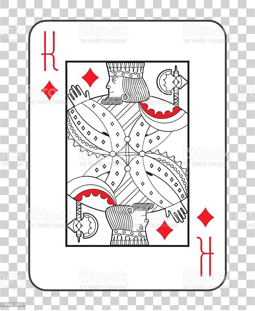 Single playing cards vector: King Diamonds vector art illustration