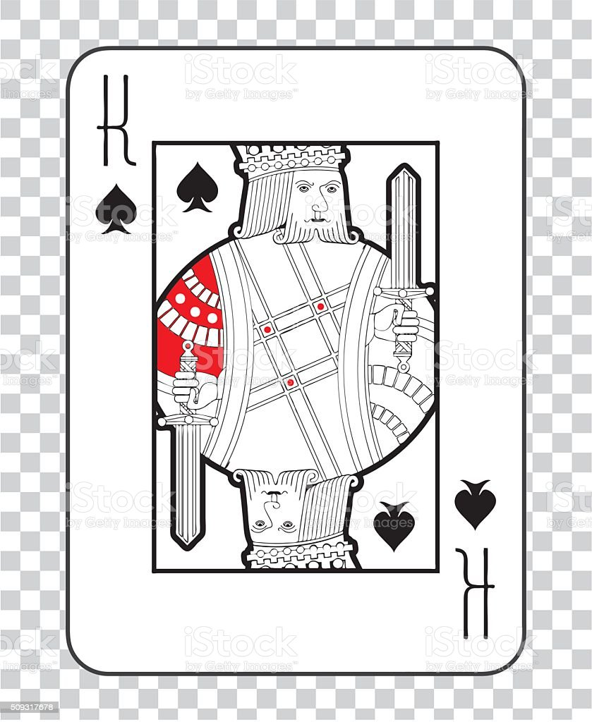 Single playing cards vector: King Spades vector art illustration