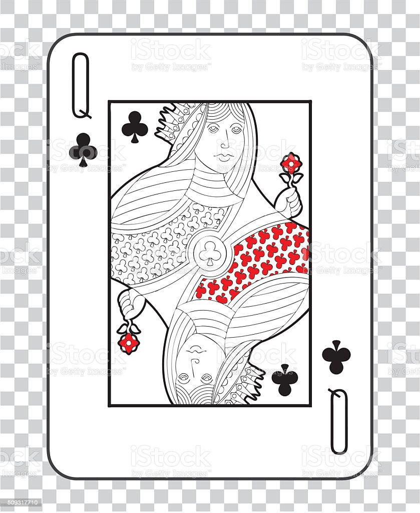 Single playing cards vector: Queen Clubs vector art illustration