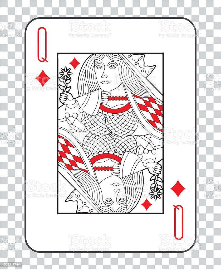 Single playing cards vector: Queen Diamonds vector art illustration
