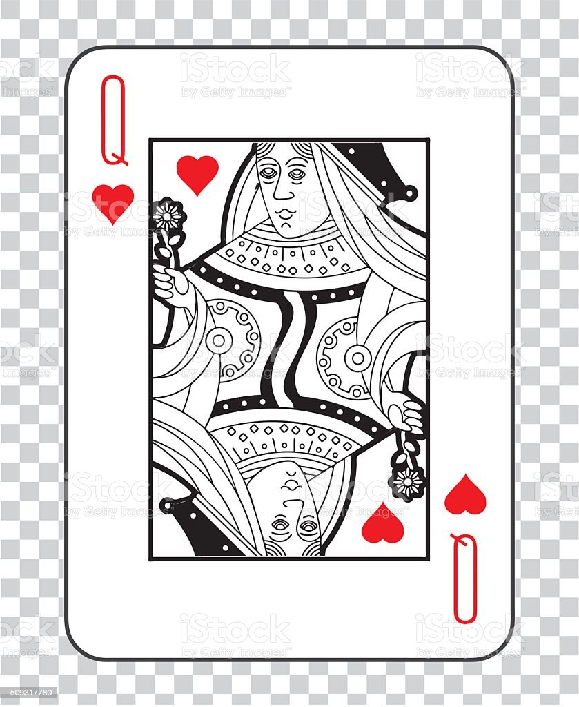 Single playing cards vector: Queen Hearts vector art illustration