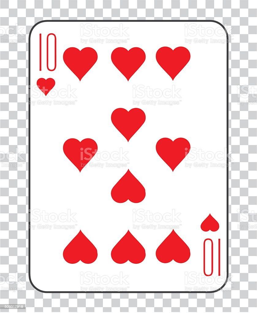 Single playing cards vector: Ten Hearts vector art illustration