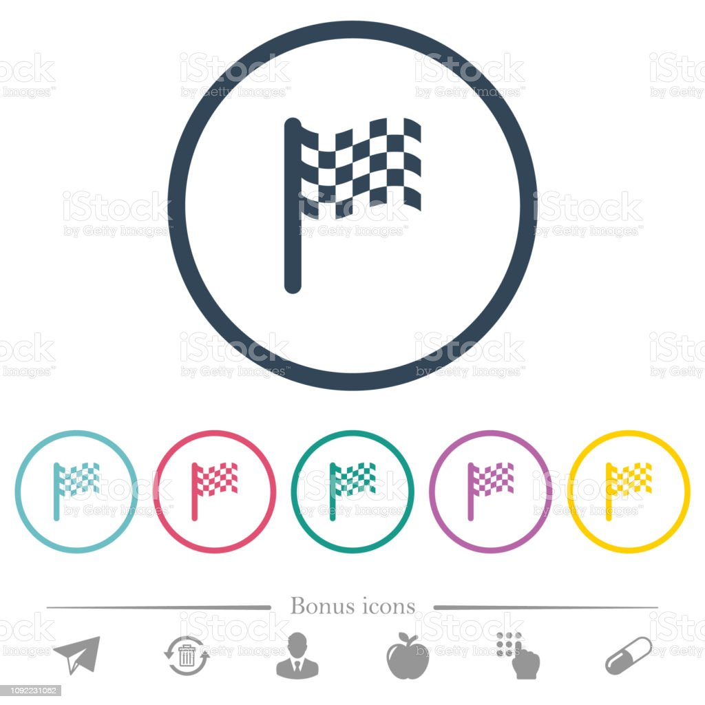 Single race flag flat color icons in round outlines