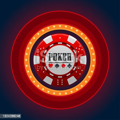 istock Single red casino chip with casino lamp frame on dark background 1324288248