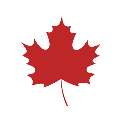 Single red maple leaf icon