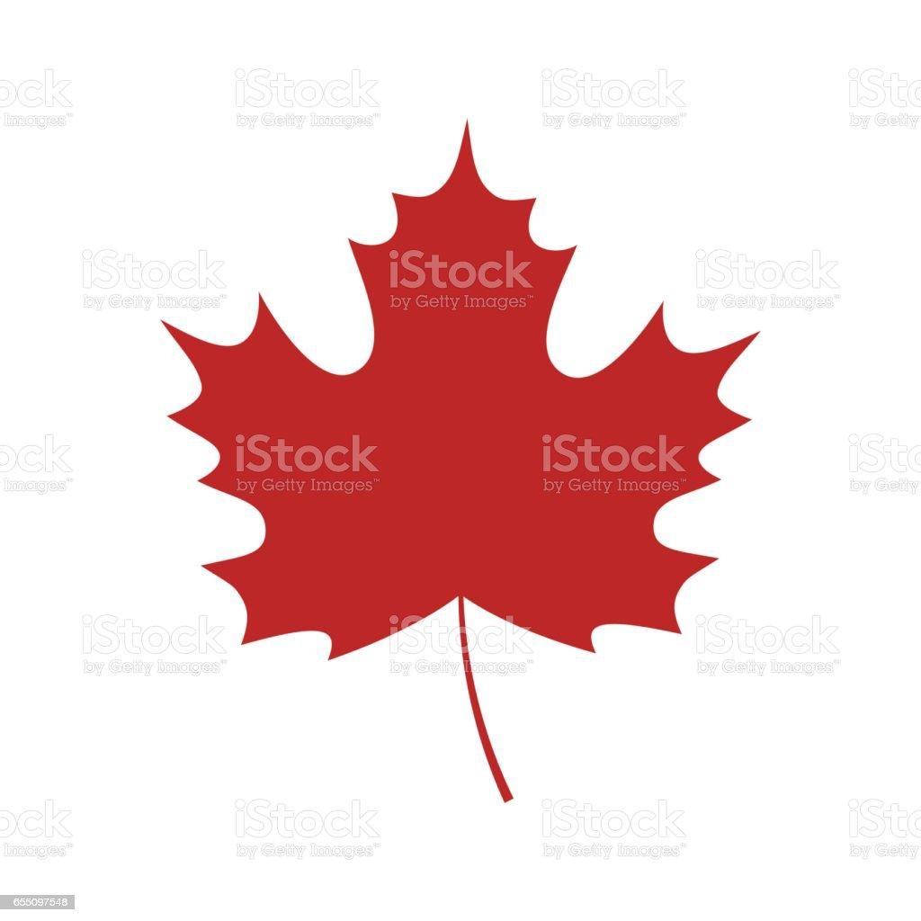 Single red maple leaf icon vector art illustration