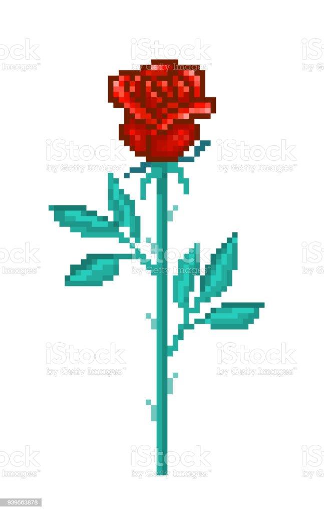 Seule Rose Rouge Fleur De Pixel Art Isolé Sur Fond Blanc