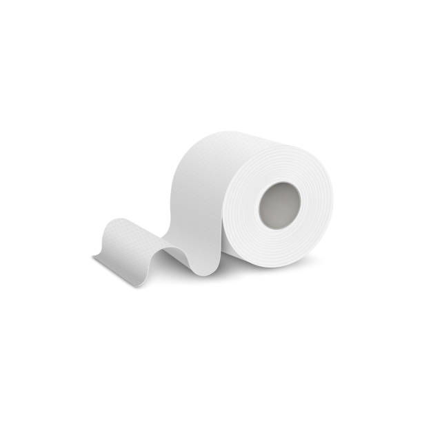 Single roll of toilet or lavatory paper realistic vector illustration isolated. Single roll of white and clean toilet or lavatory paper icon, 3d realistic vector mockup illustration isolated on background. Hygienic paper template for brand design. toilet paper stock illustrations