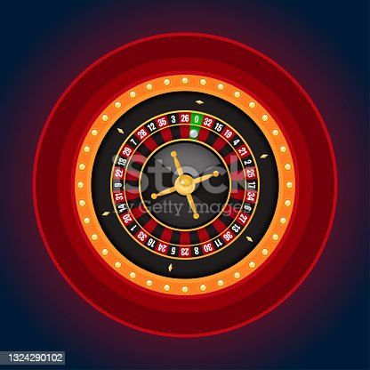 istock Single roulette wheel with casino lamp frame on dark background 1324290102