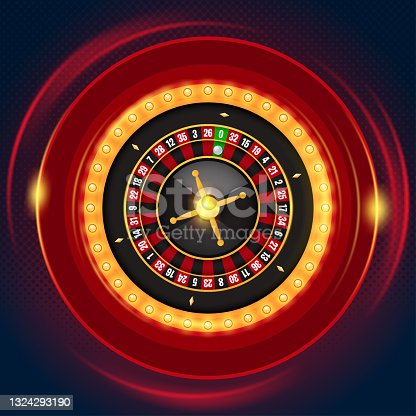 istock Single roulette wheel with casino lamp frame on dark background 1324293190