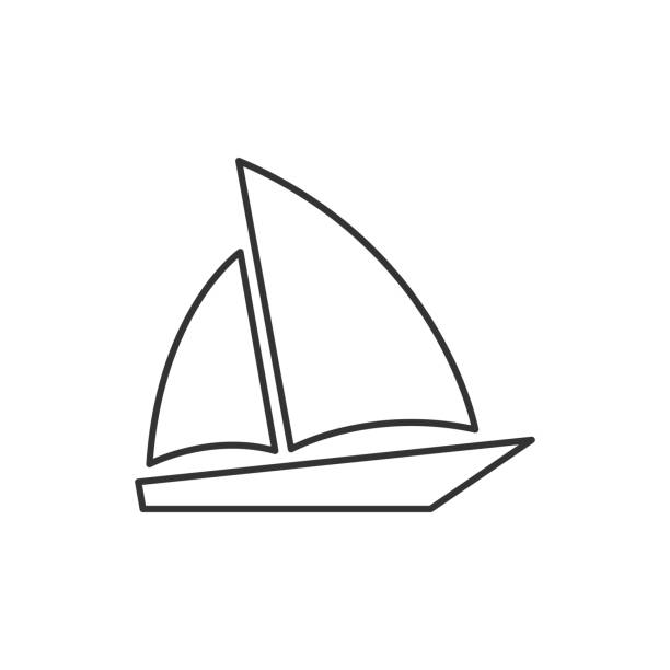 Single sailboat line icon vector art illustration