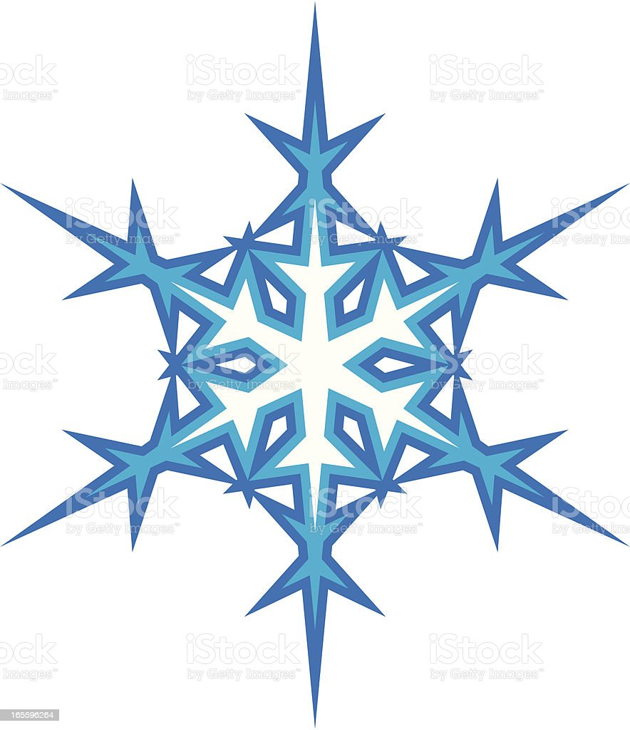 Single Snowflake, Vector Design royalty-free single snowflake vector design stock vector art & more images of blue